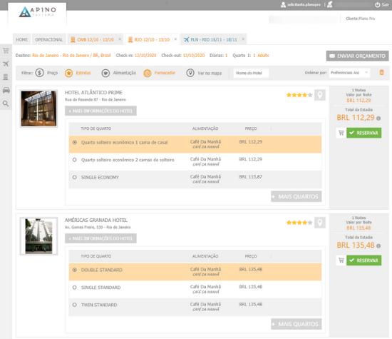 sistema de reservas para viagens de negócios